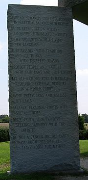 http://en.wikipedia.org/wiki/File:Georgia_Guidestones_English_Full.jpg
