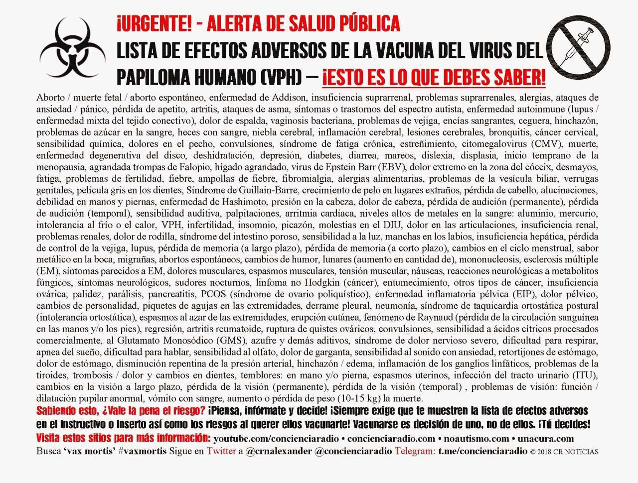 LISTA DE EFECTOS ADVERSOS DE LA VACUNA DEL VIRUS DE PAPILOMA HUMANO VPH