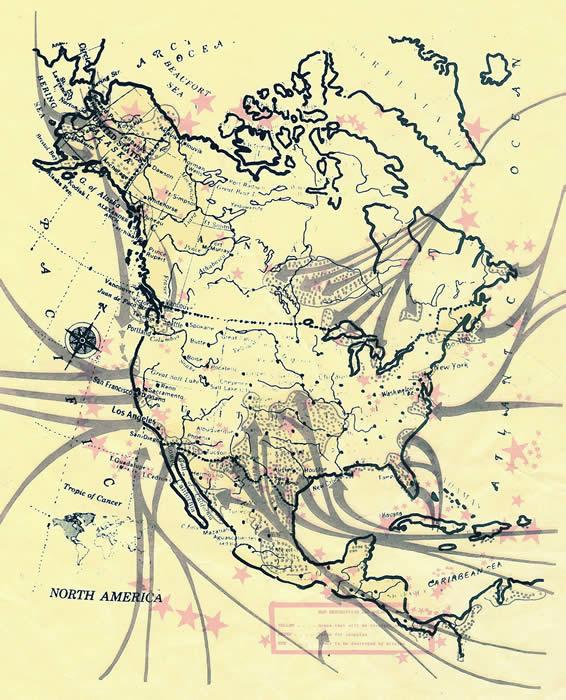 Mapa de Invasión comunistas de Estados Unidos vía México y Canadá